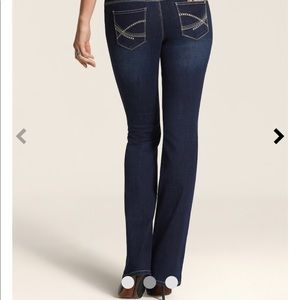 Chico's So Slimming Short bootcut jeans with bling